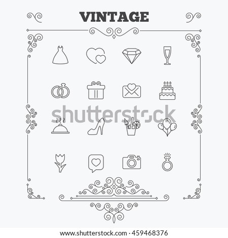 Wedding and party icons. Dress, diamond and rings. Gift box, invitatiom letter and rose flower. Speech bubble with heart and photo camera. Vintage ornament patterns. Decoration design elements.  - stock photo