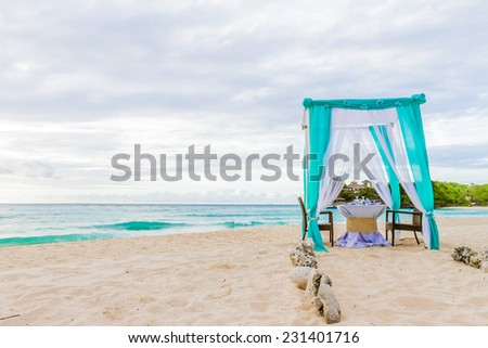 Wedding Arch And Set Up On Beach Tropical Outdoor Cabana