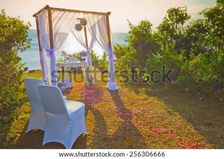wedding arch at the beach, nobody - stock photo