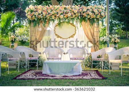 wedding arch decorated with flowers. vintage picture