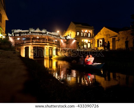 Wedding at Japanese Covered Bridge, Hoi An, Vietnam - stock photo