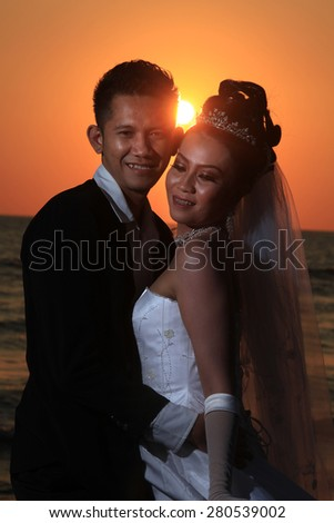 wedding at sunset or sunrise