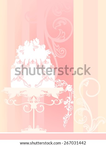 wedding background with cake - pastel colored design with place for your text - stock photo