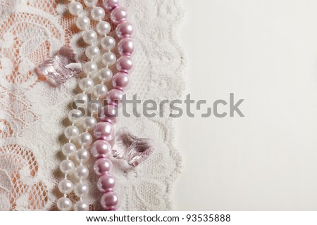 Wedding background with lace and chrystal, pearl beads - stock photo