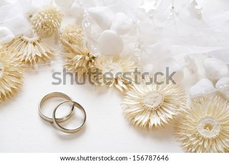 Wedding background with wedding bands - stock photo