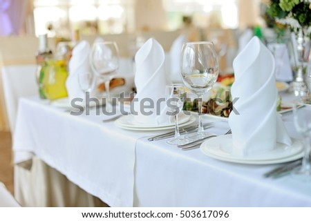 wedding banquet in restaurant, reception venue tables