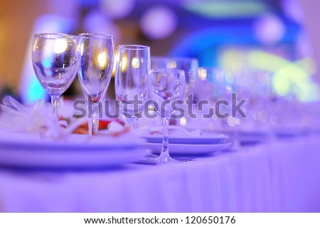 wedding banquet in restaurant, served table - stock photo