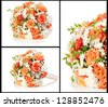 Wedding bouquet collage - stock photo