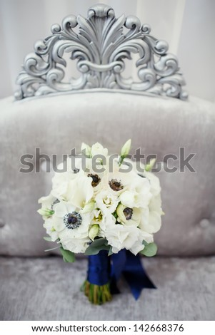wedding bouquet from white flowers ; wedding concept - stock photo