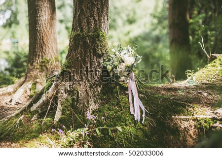 Wedding bouquet in the forest