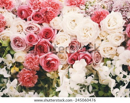 Wedding bouquet in wedding day vintage color tone - stock photo