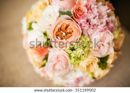 wedding bouquet of delicate pink flowers - stock photo