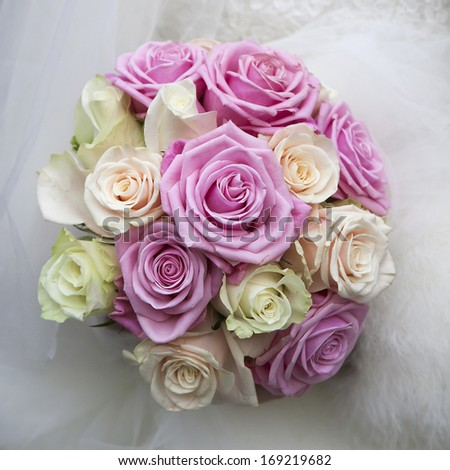 wedding bouquet of pink and white roses - stock photo