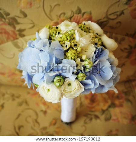 Wedding bouquet of various flowers - stock photo