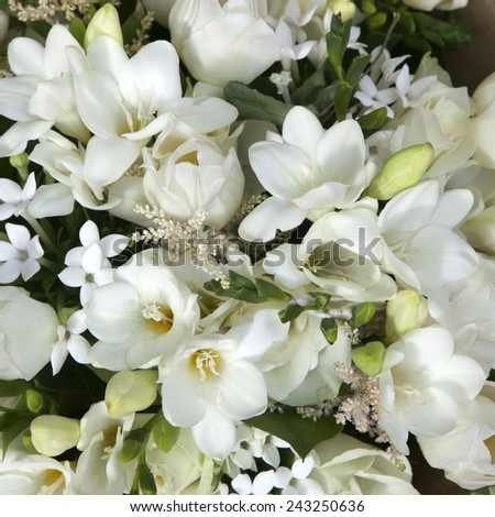 wedding bouquet of white flowers - anemone and tulip - stock photo
