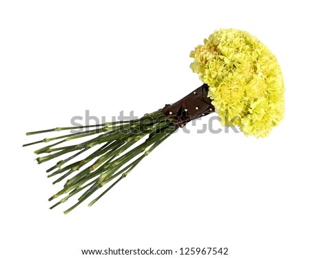 Wedding bouquet of yellow carnation isolated on white - stock photo