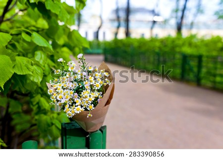 Wedding bouquet on craft paper decoration with daisies over street and park view. Close up. - stock photo