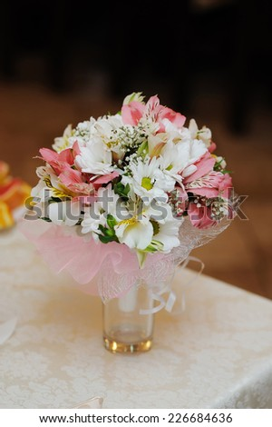 wedding bouquet on the table. - stock photo