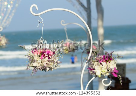 Wedding bouquet set up in evening with sunny - stock photo