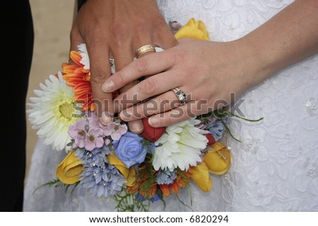 wedding bouquet with hands
