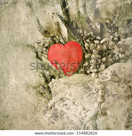 Wedding bouquet with pearls and heart. Valentines day.  - stock photo