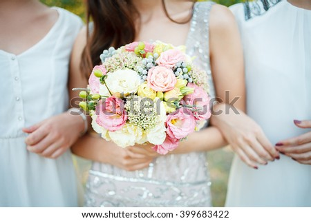Wedding bouquet with pink flowers. Wedding accessories