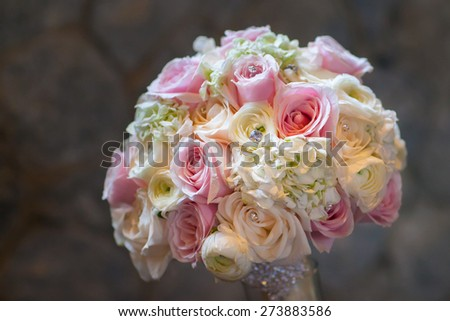 Wedding bouquet with roses - stock photo