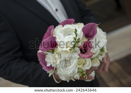 Wedding bouquet with white roses - stock photo