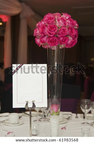 Wedding breakfast table setting with blank copy space for your text - stock photo