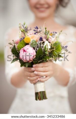 Wedding bridal bouquet - stock photo