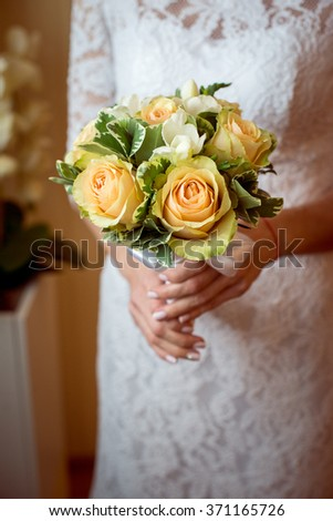 Wedding Bridal bouquet in the hands