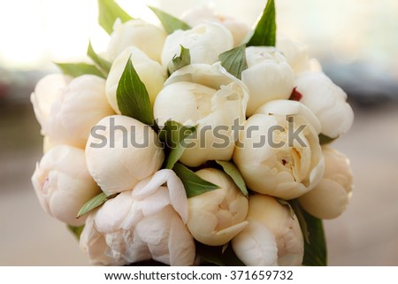 Wedding bridal bouquet. peonies - stock photo