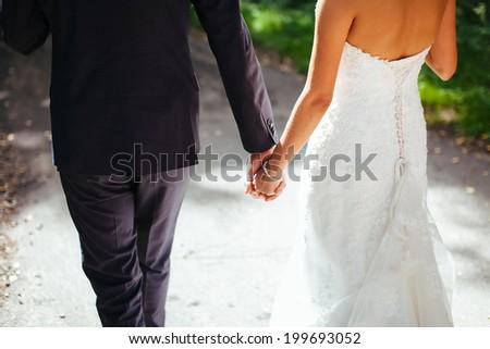 wedding bride groom hands - stock photo
