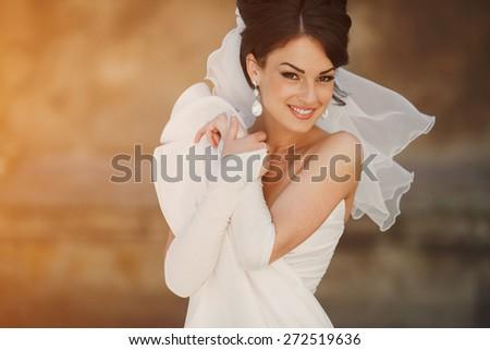 wedding bride smiling - stock photo