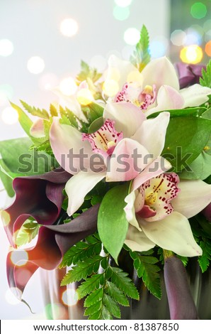 Wedding Bunch of flowers closeup at table - stock photo