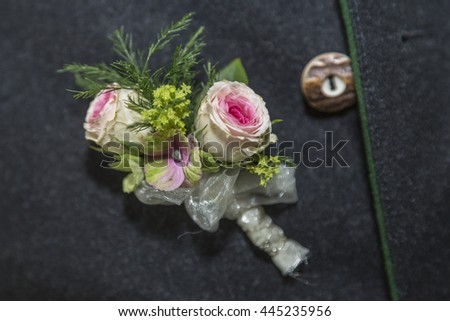 Wedding Buttons - an essential accessory of the groom - stock photo