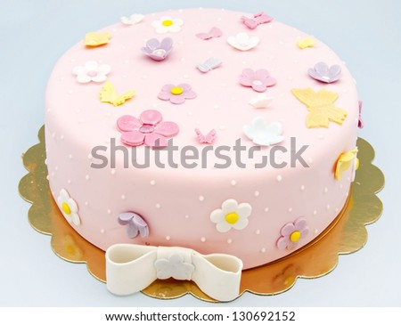 Wedding cake decorated with fondant - stock photo