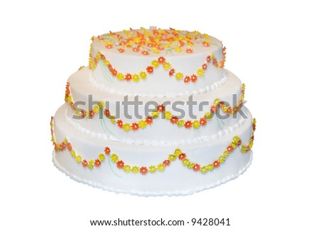 Wedding cake decorated with marzipan roses (isolated on white) - stock photo