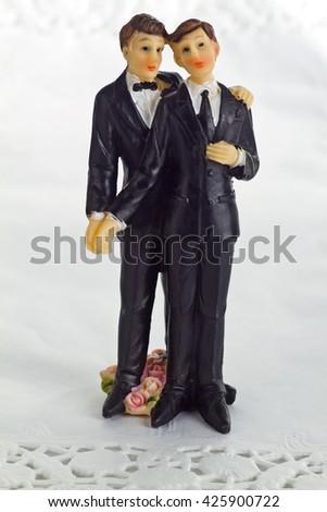 Wedding Cake Figurine Isolated on white Background. - stock photo