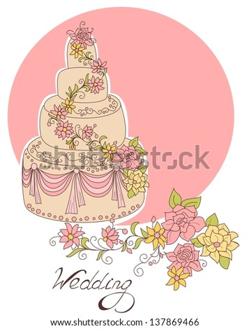 Wedding cake for wedding invitations or announcements. - stock photo