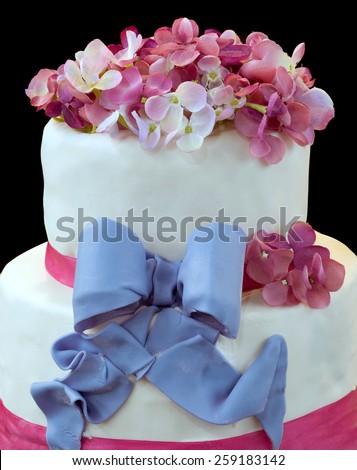 Wedding Cake Isolated on Dark Background - stock photo