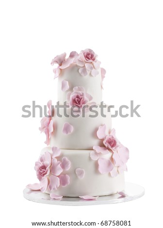 Wedding Cake Isolated On White Background - stock photo