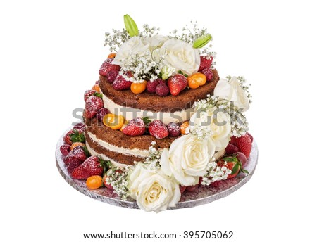 Wedding cake made of flowers roses and fruit. On a white background. - stock photo