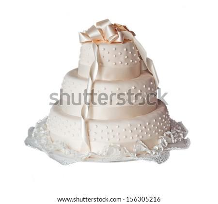 wedding cake on white background - stock photo
