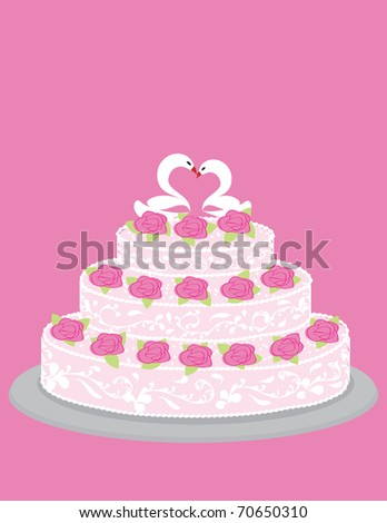 Wedding cake with roses and pair of in love swans