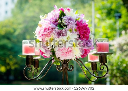 Wedding candlestick - stock photo