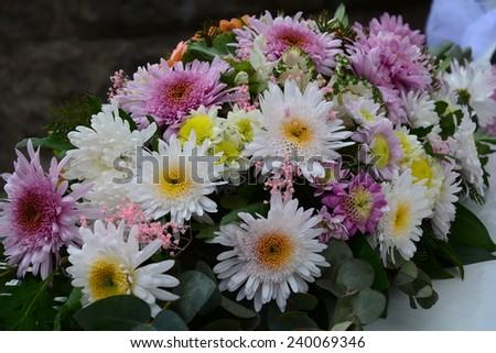 Wedding car flower decoration  - stock photo