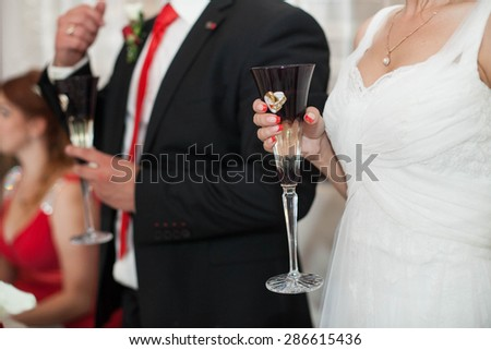 wedding celebration young happy couple in the restaurant - stock photo