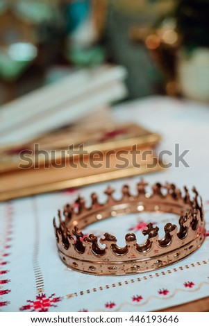 Wedding ceremonial attributes are on the altar in a church - stock photo