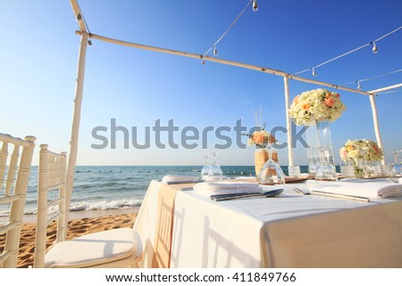 Wedding ceremony dining place on a tropical beach, Thailand - stock photo